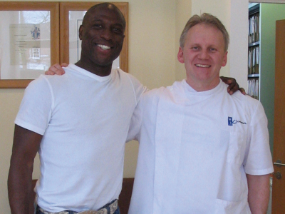Professional footballer Kevin Campbell (Cardiff City) and Rainer Wieser